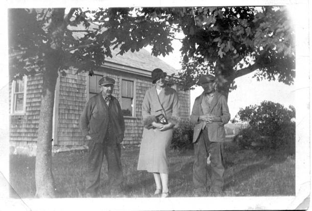 George and William Bray with Mrs. Leslie (Ruth) Pfeiffer, about 1937. We do not know which brother is George and which is William. which is William.
